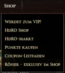 LotRO Webseite - Menüpunkt: Shop